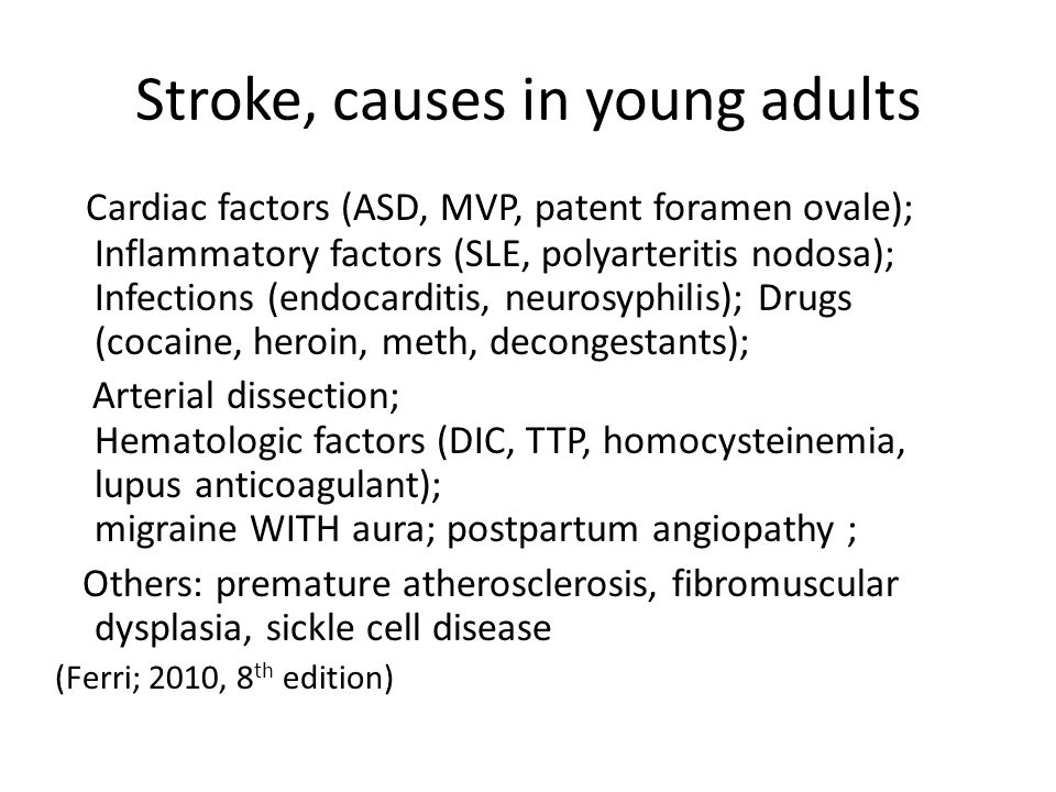 Stroke, causes in young adults