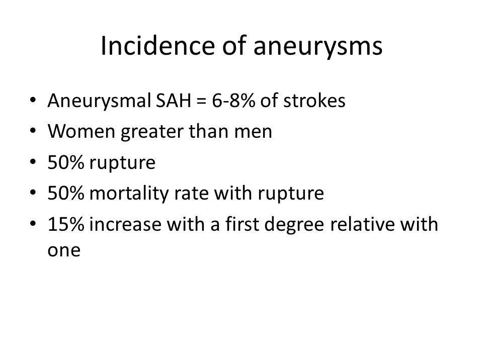 Incidence of aneurysms