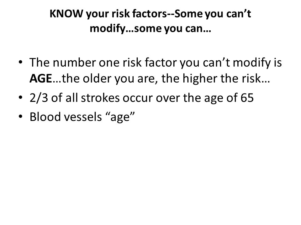 KNOW your risk factors--Some you can't modify…some you can…