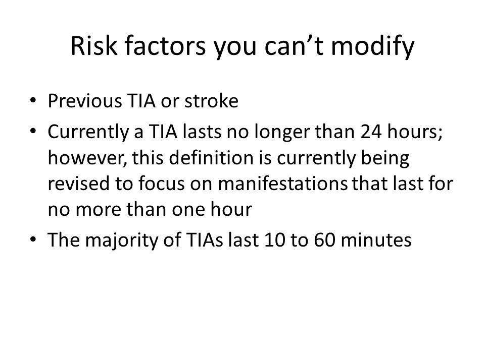 Risk factors you can't modify