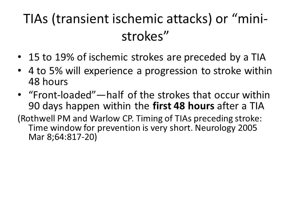 TIAs (transient ischemic attacks) or mini-strokes