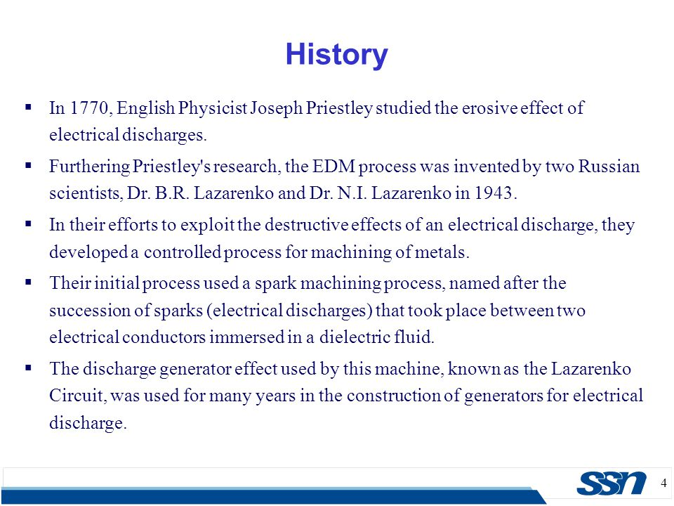 History In 1770, English Physicist Joseph Priestley studied the erosive effect of electrical discharges.
