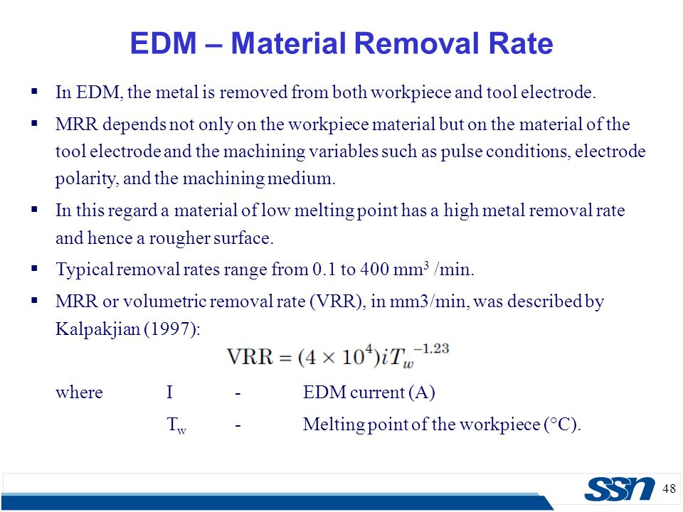 EDM – Material Removal Rate