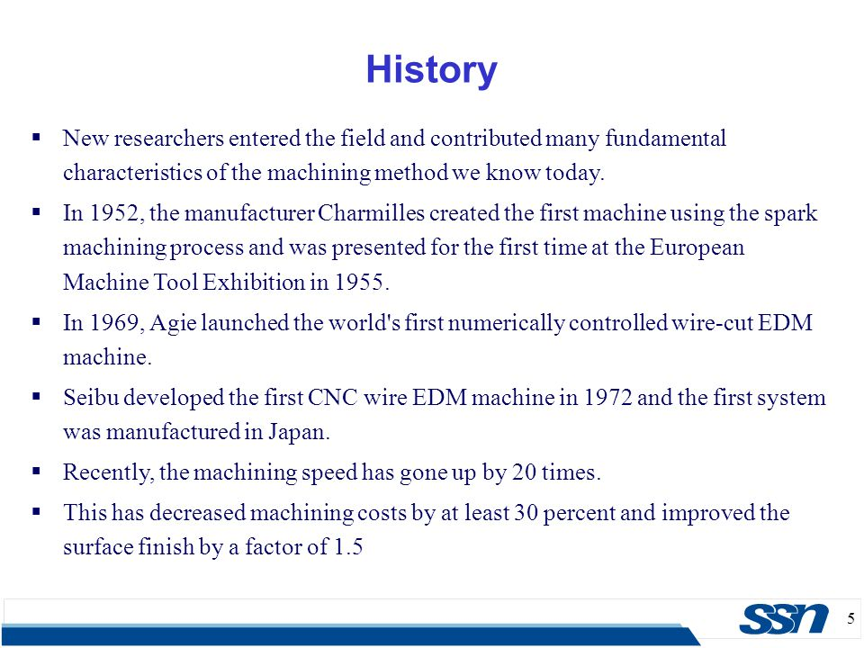 History New researchers entered the field and contributed many fundamental characteristics of the machining method we know today.