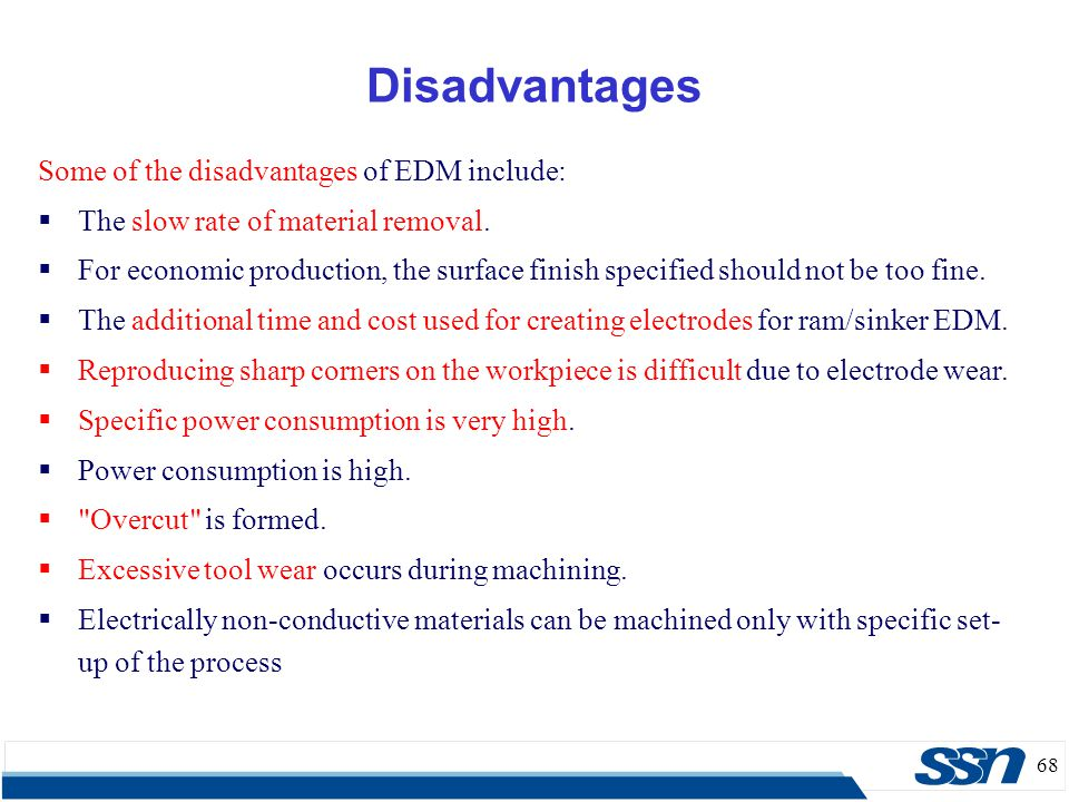 Disadvantages Some of the disadvantages of EDM include: