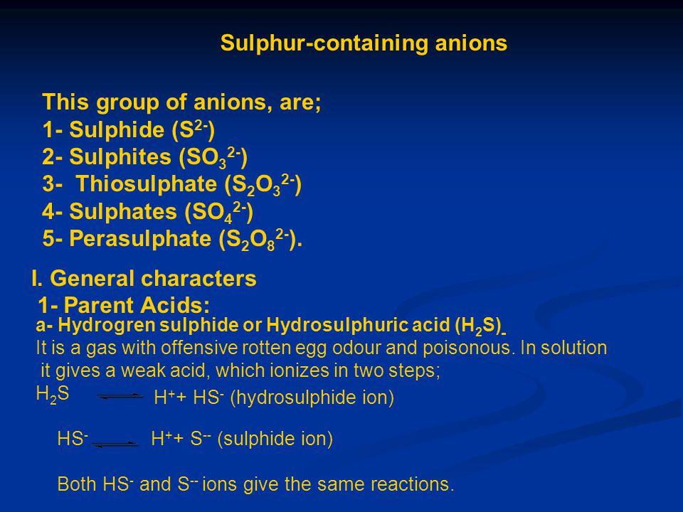 Sulphur-containing anions