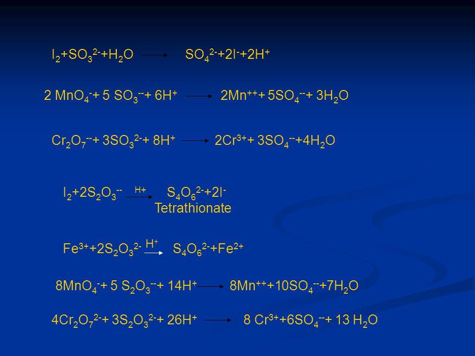 2 MnO4-+ 5 SO3--+ 6H+ 2Mn+++ 5SO4--+ 3H2O