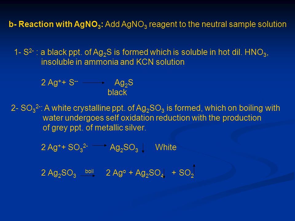 b- Reaction with AgNO3: Add AgNO3 reagent to the neutral sample solution