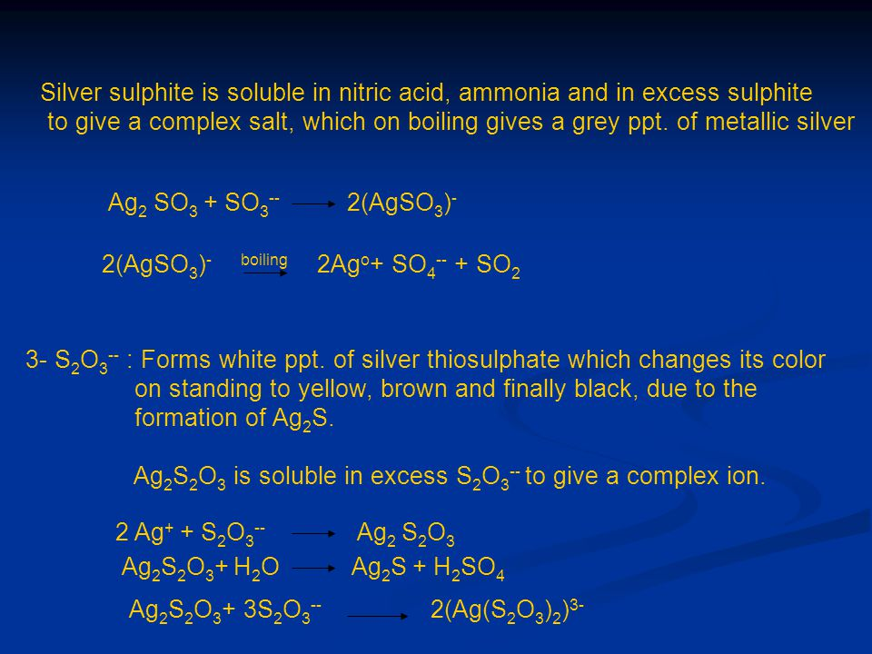 Silver sulphite is soluble in nitric acid, ammonia and in excess sulphite