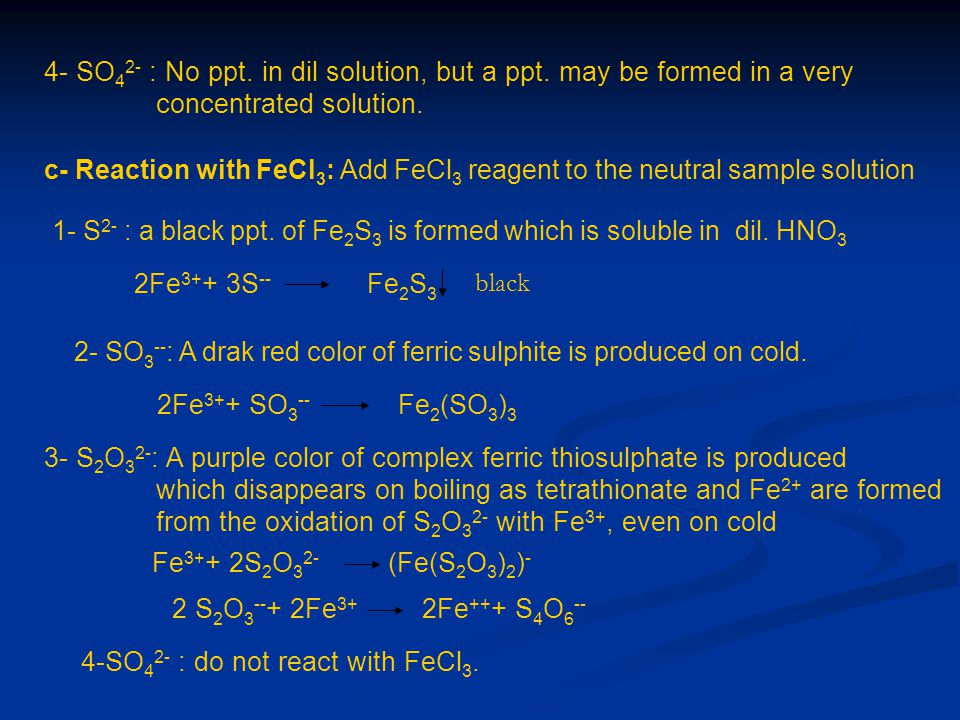 4- SO42- : No ppt. in dil solution, but a ppt. may be formed in a very