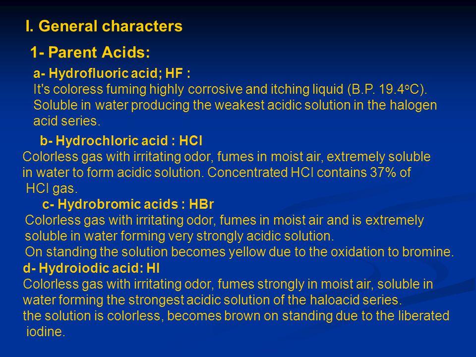 I. General characters 1- Parent Acids: a- Hydrofluoric acid; HF :