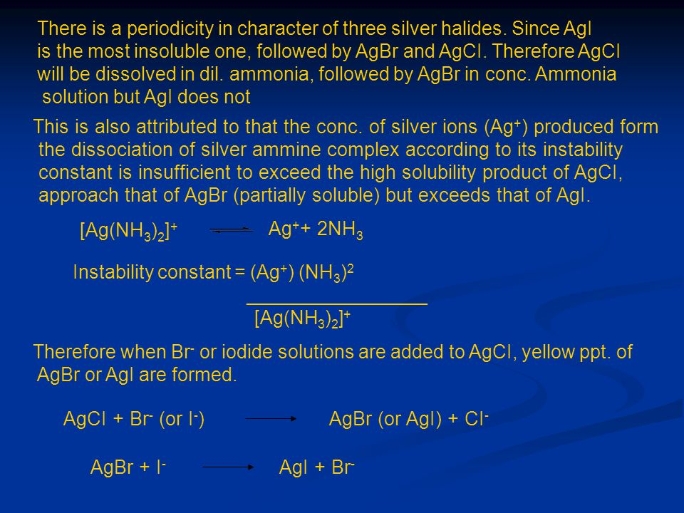 Instability constant = (Ag+) (NH3)2