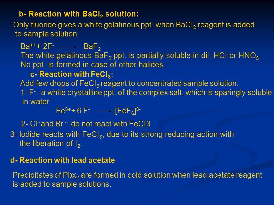 b- Reaction with BaCI2 solution: