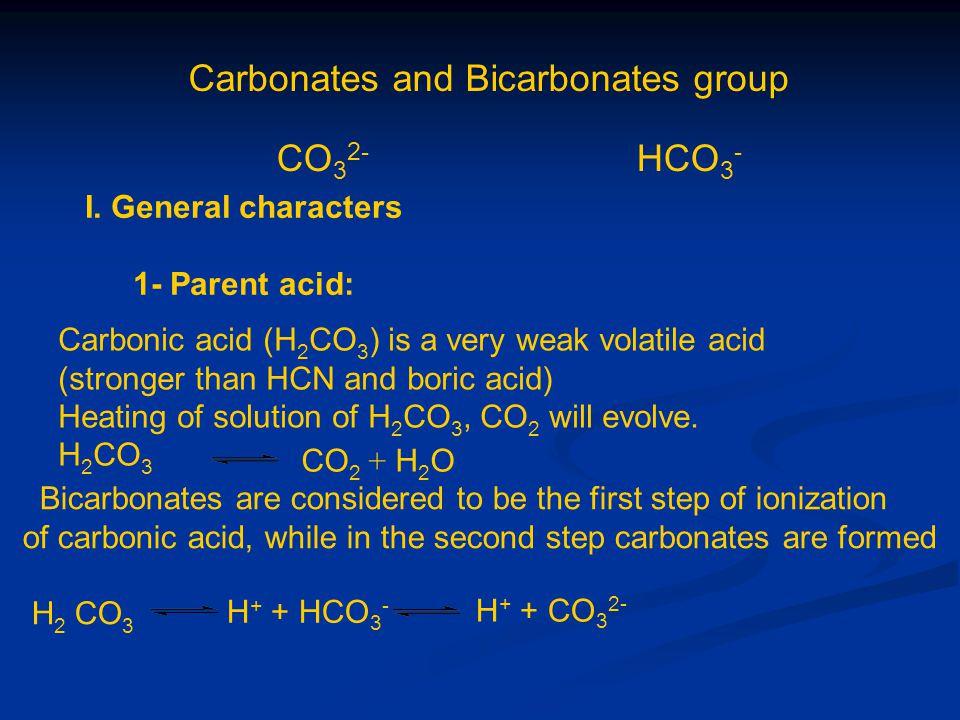 Carbonates and Bicarbonates group