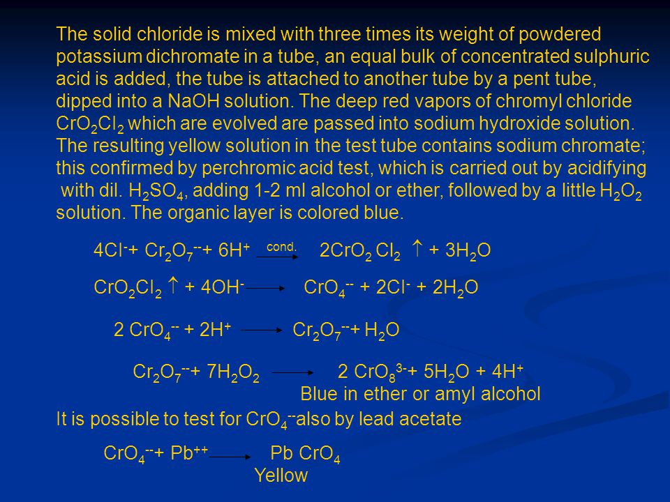 The solid chloride is mixed with three times its weight of powdered