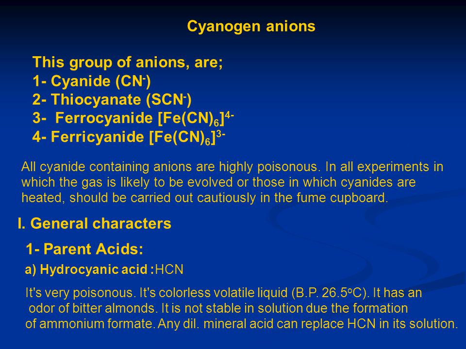 This group of anions, are; 1- Cyanide (CN-) 2- Thiocyanate (SCN-)