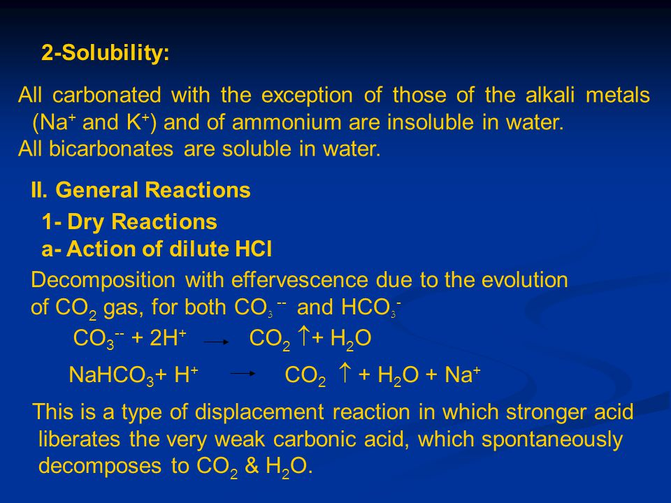 2-Solubility: All carbonated with the exception of those of the alkali metals (Na+ and K+) and of ammonium are insoluble in water.