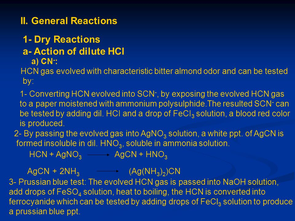 II. General Reactions 1- Dry Reactions a- Action of dilute HCl a) CN-: