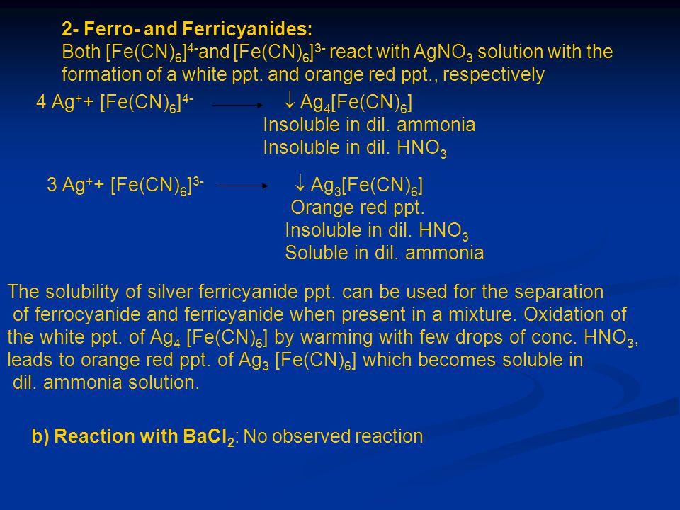 2- Ferro- and Ferricyanides:
