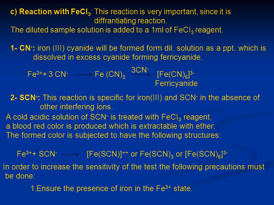 c) Reaction with FeCI3: This reaction is very important, since it is