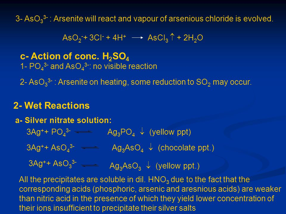 c- Action of conc. H2SO4 2- Wet Reactions
