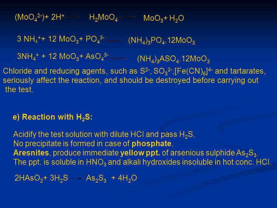 (MoO42-)+ 2H+ H2MoO4. MoO3+ H2O. 3 NH4++ 12 MoO3+ PO43- (NH4)3PO4.12MoO3. 3NH4+ + 12 MoO3+ AsO43-