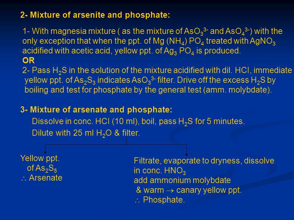 2- Mixture of arsenite and phosphate: