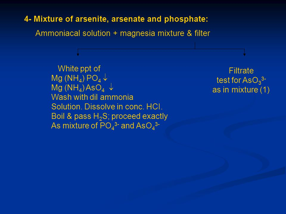 4- Mixture of arsenite, arsenate and phosphate: