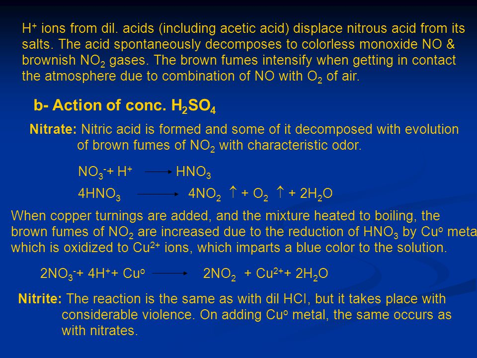 H+ ions from dil. acids (including acetic acid) displace nitrous acid from its