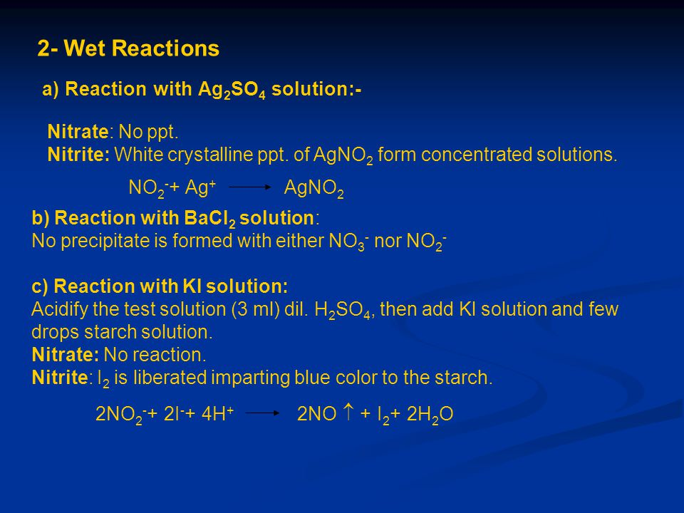 2- Wet Reactions a) Reaction with Ag2SO4 solution:- Nitrate: No ppt.