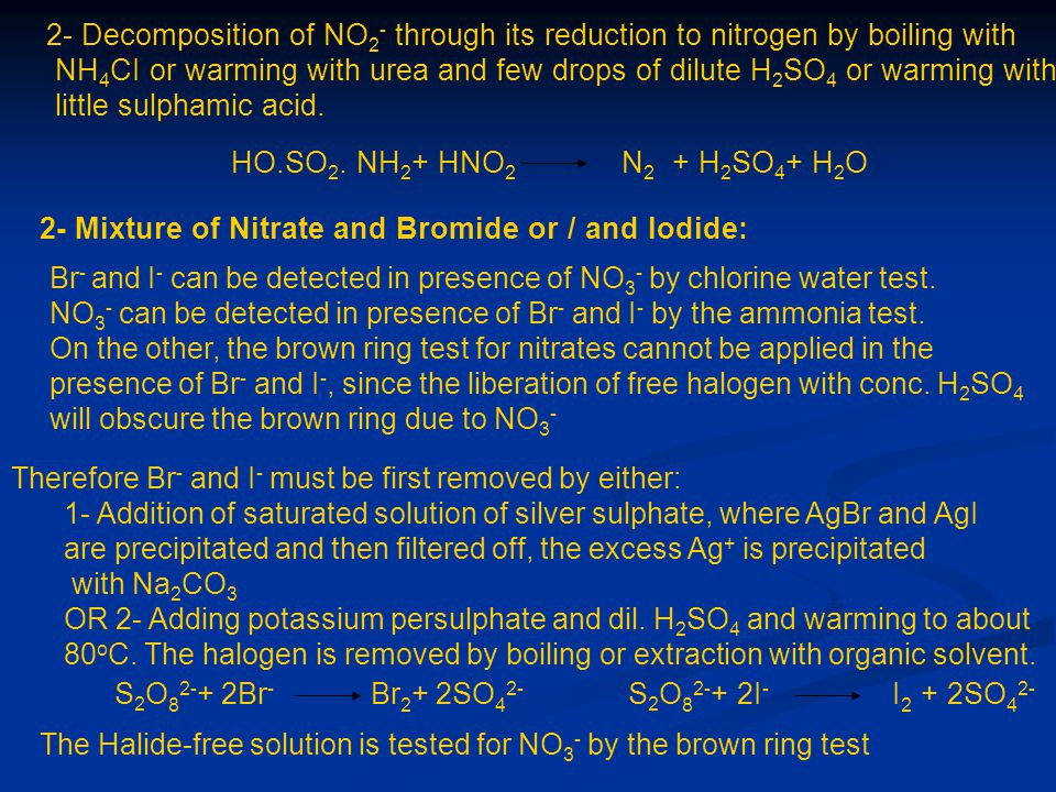 2- Decomposition of NO2- through its reduction to nitrogen by boiling with
