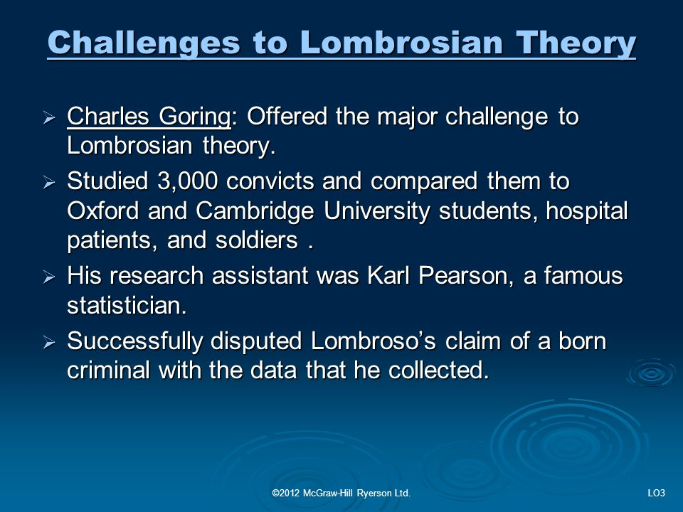 Challenges to Lombrosian Theory