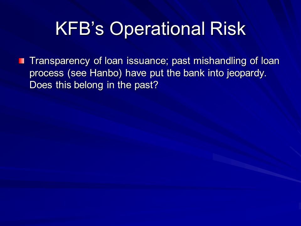 KFB's Operational Risk