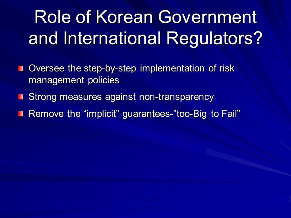 Role of Korean Government and International Regulators