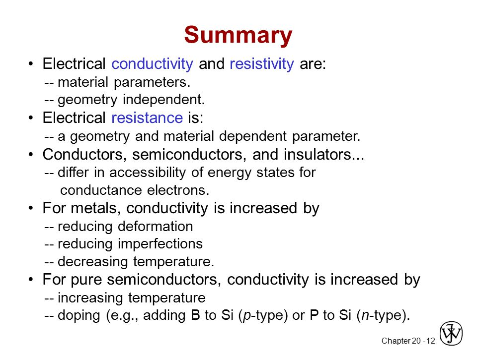 Summary • Electrical conductivity and resistivity are: