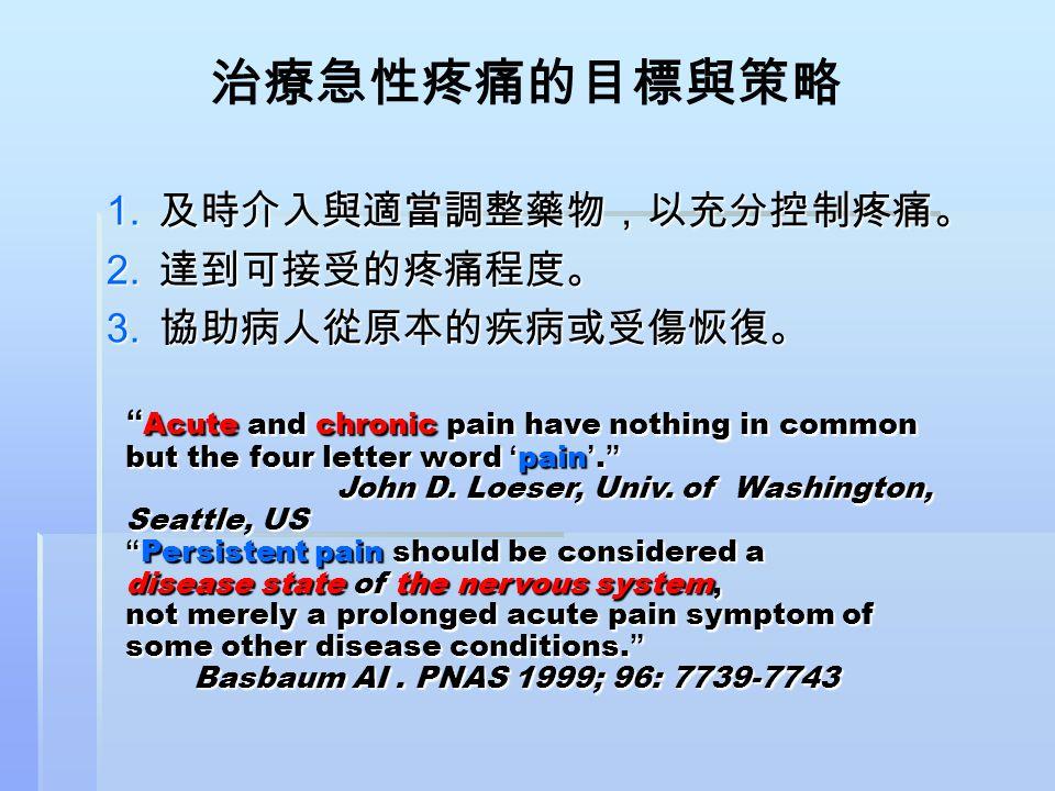 治療急性疼痛的目標與策略 及時介入與適當調整藥物,以充分控制疼痛。 達到可接受的疼痛程度。 協助病人從原本的疾病或受傷恢復。