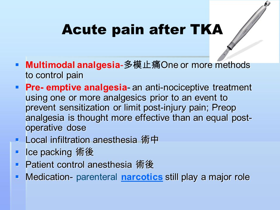 Acute pain after TKA Multimodal analgesia-多模止痛One or more methods to control pain.
