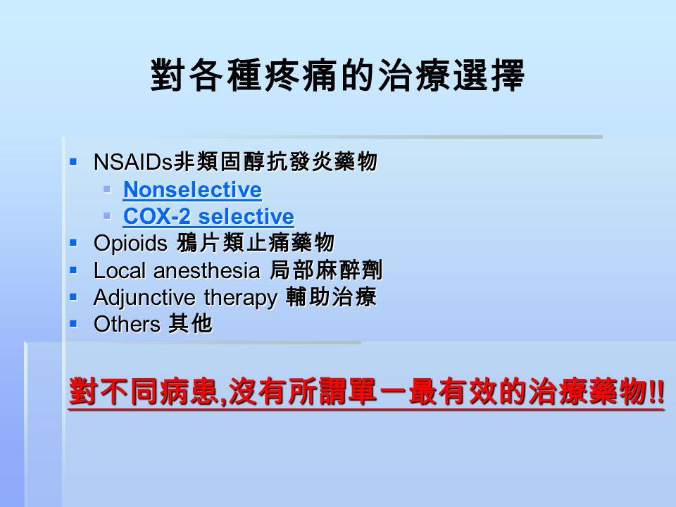 對各種疼痛的治療選擇 對不同病患,沒有所謂單一最有效的治療藥物!! NSAIDs非類固醇抗發炎藥物 Nonselective