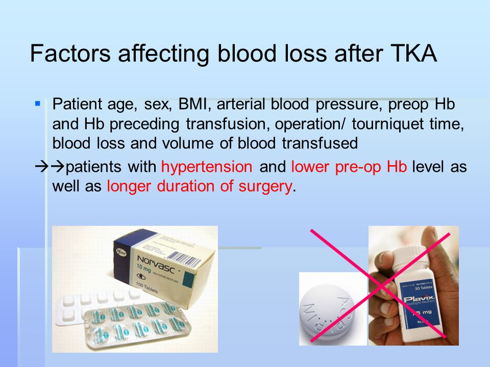 Factors affecting blood loss after TKA