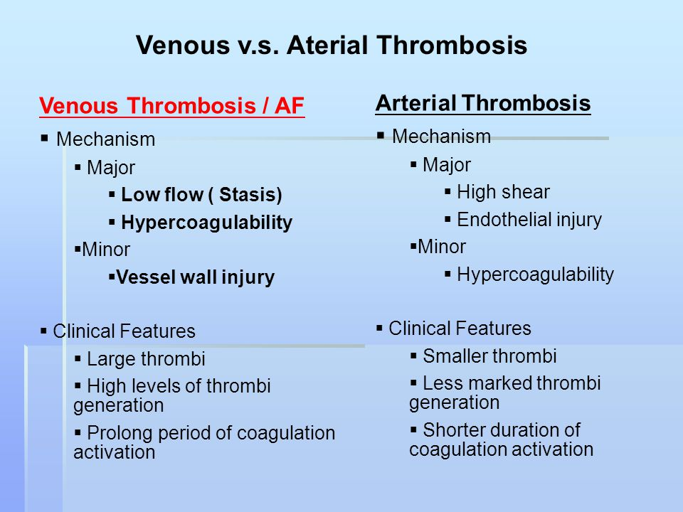 Venous v.s. Aterial Thrombosis