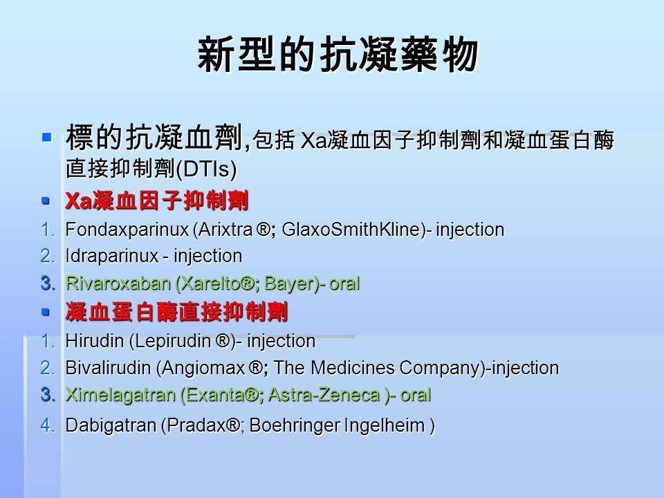 新型的抗凝藥物 標的抗凝血劑,包括 Xa凝血因子抑制劑和凝血蛋白酶直接抑制劑(DTIs) Xa凝血因子抑制劑 凝血蛋白酶直接抑制劑