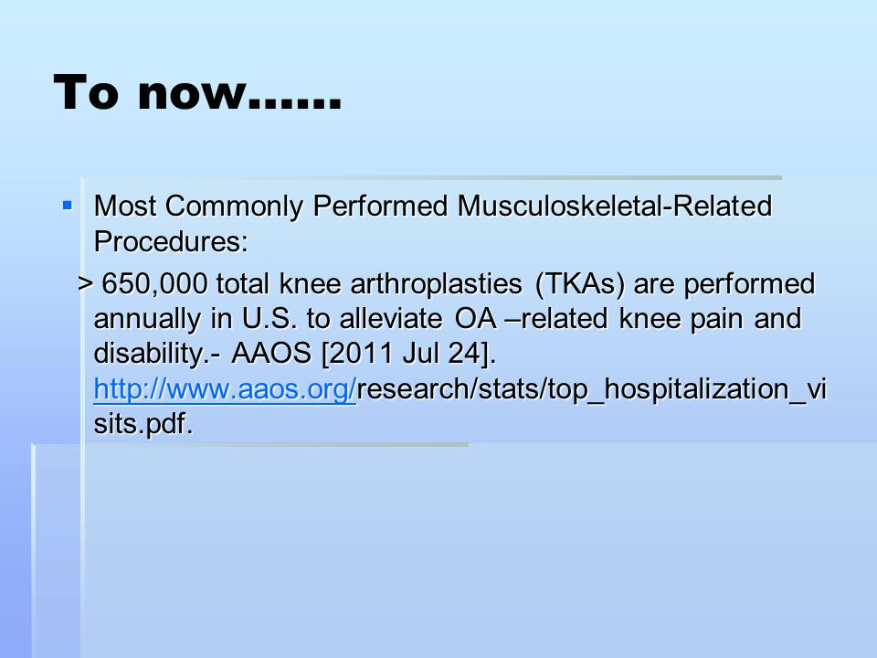 To now…… Most Commonly Performed Musculoskeletal-Related Procedures: