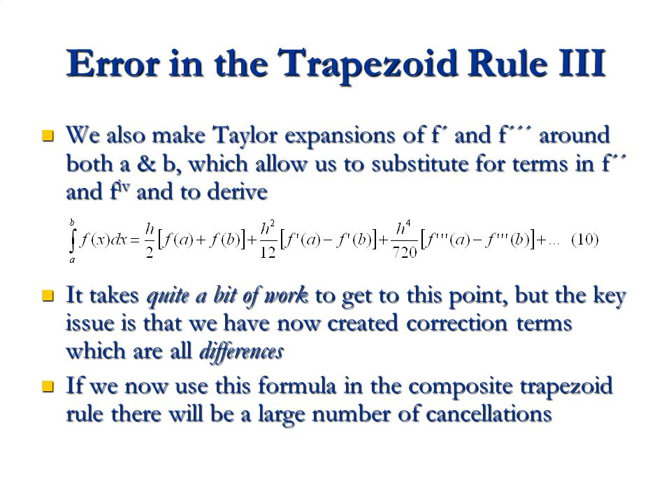 Error in the Trapezoid Rule III