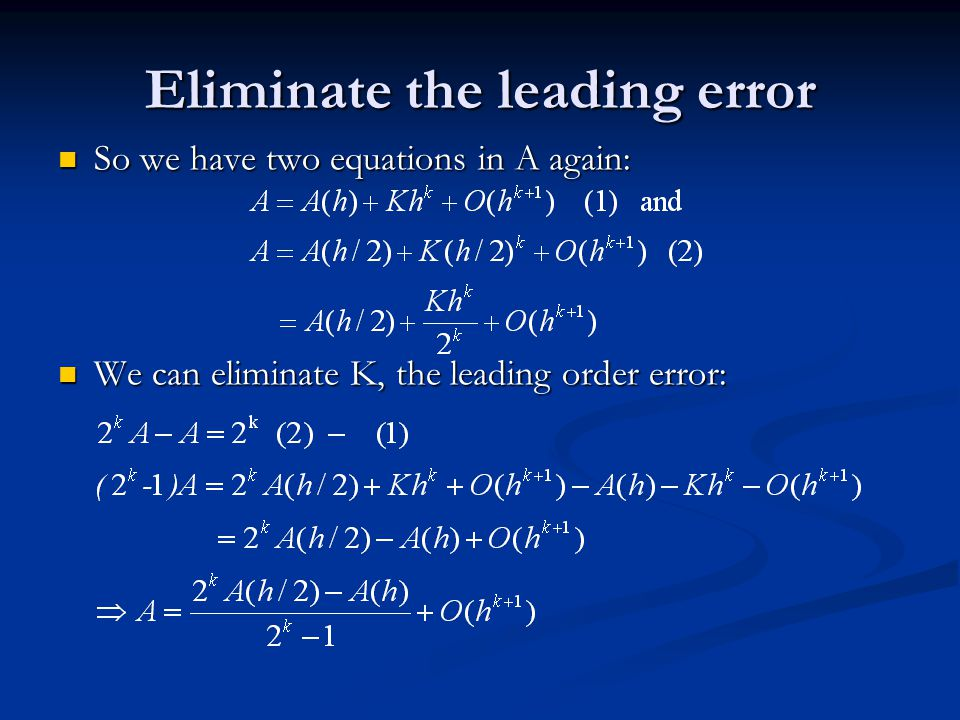 Eliminate the leading error