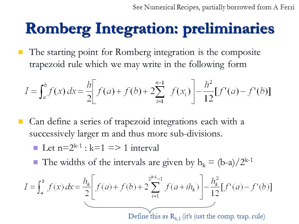 Romberg Integration: preliminaries