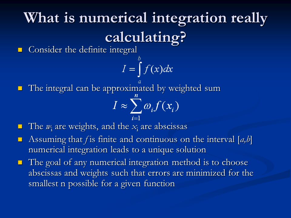 What is numerical integration really calculating