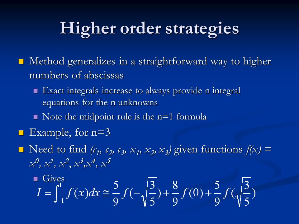Higher order strategies