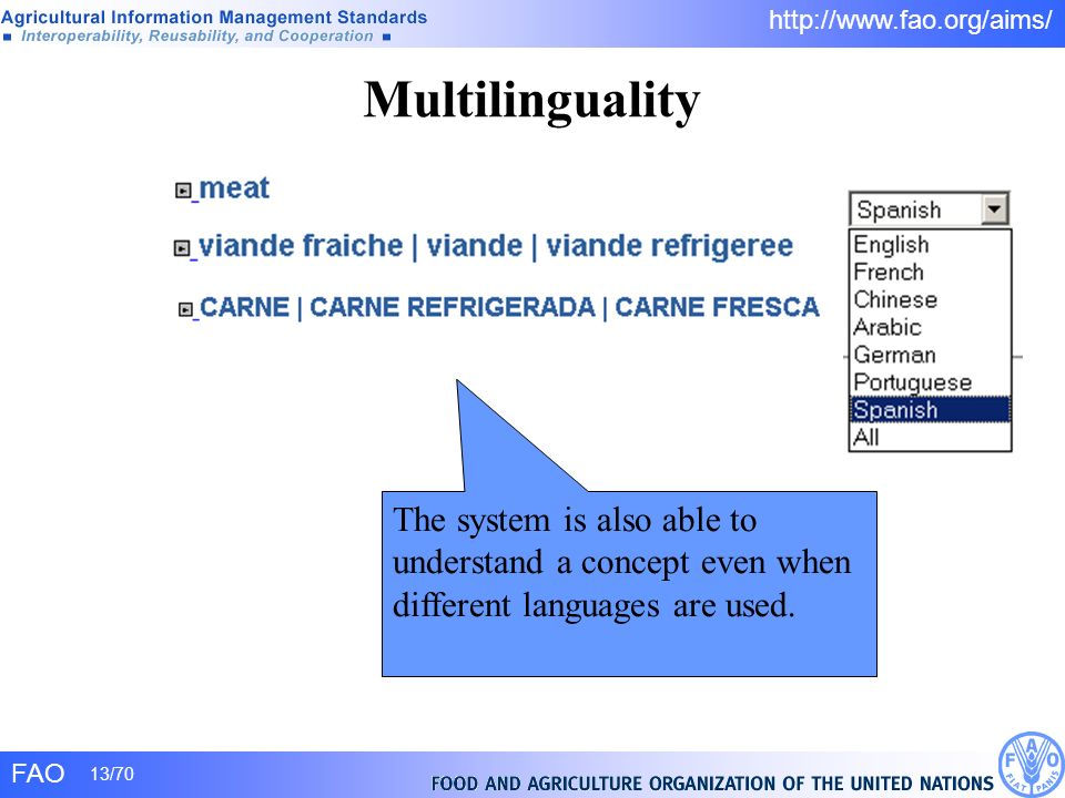 Multilinguality The system is also able to understand a concept even when different languages are used.