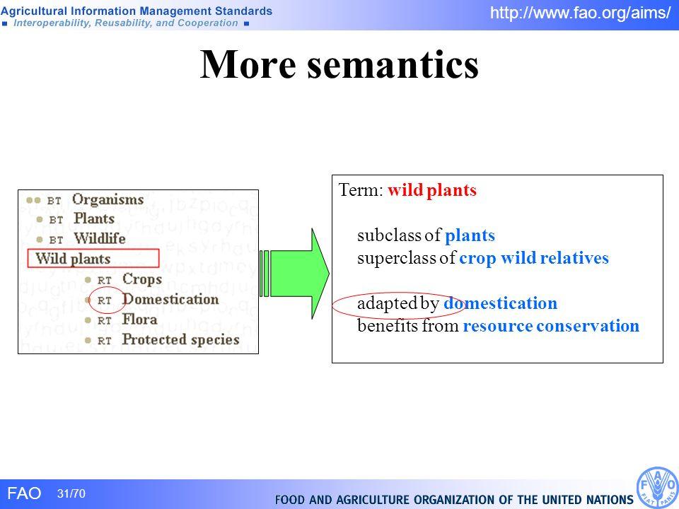 More semantics Term: wild plants subclass of plants