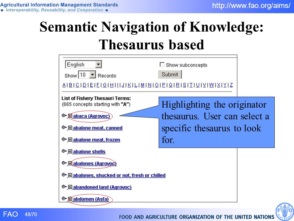Semantic Navigation of Knowledge: Thesaurus based